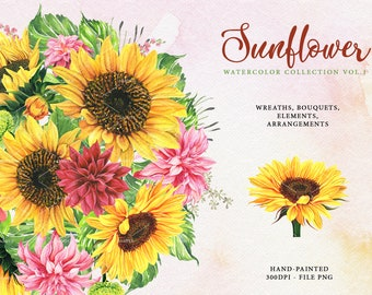 Sunflower Sunflower gold watercolour clipart pink lupin. bright Frames yellow flowers invitations hand drawn rustic wedding
