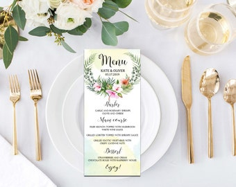Wedding suite, Custom wedding menu, Tropical wedding, Tropical, Tropical Botanical, Palm Leaves, Digital download, Word editable | WEWOME_63