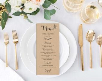 Wedding suite, Custom wedding menu, Kraft Wedding, Kraft paper, Rustic wedding, Digital download, Word editable | WEWOME_56