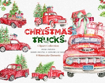 Watercolor Christmas Truck,Christmas Truck Decal,Watercolor holiday,Pine Tree,Retro Car,Christmas Truck,Santa,New Year decoration| WCCHT_03