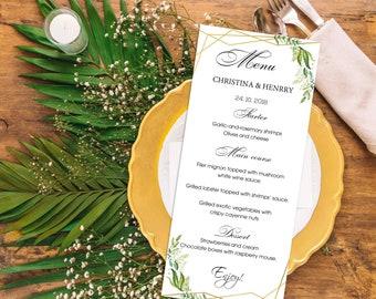 Wedding suite, Custom wedding menu, Green leaf wedding, Leaf watercolor, Digital download, Word editable | WEWOME_55