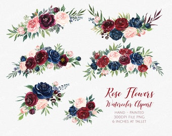 Marsala Flower Clipart,Marsala Navy Watercolor Flowers,Boho Bordo Watercolor Clipart,Burgundy Blush Wedding,Flower clipart wedding| MGDX_07M