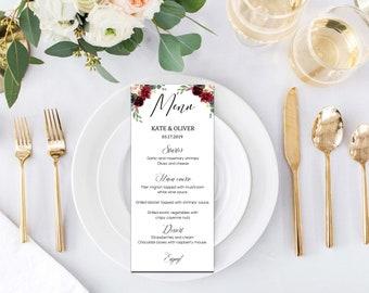 Wedding suite, Custom wedding menu, Marsala wedding, Burgundy Peonies Floral Boho, Digital download, Word editable | WEWOME_57