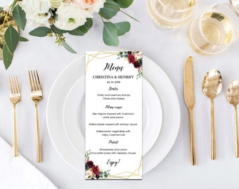 Wedding suite, Custom wedding menu, Marsala, Geometric gold Wedding, Flower, Marsala, gold, Digital download, Word editable | WEWOME_59