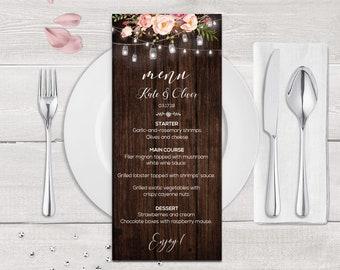 Wedding suite, Custom wedding menu, Rustic wedding, Wood Wedding , Lights wedding, Digital download, Word editable | WEWOME_52