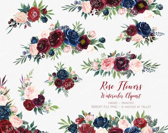 Marsala Flower Clipart,Marsala Navy Watercolor Flowers,Boho Bordo Watercolor,burgundy and navy floral watercolo,clipart wedding| MGDX_10M