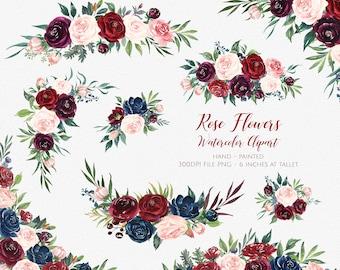 Marsala Flower Clipart,Marsala Navy Watercolor Flowers,Boho Bordo Watercolor Clipart,Burgundy Blush Wedding,Flower clipart wedding| MGDX_08M