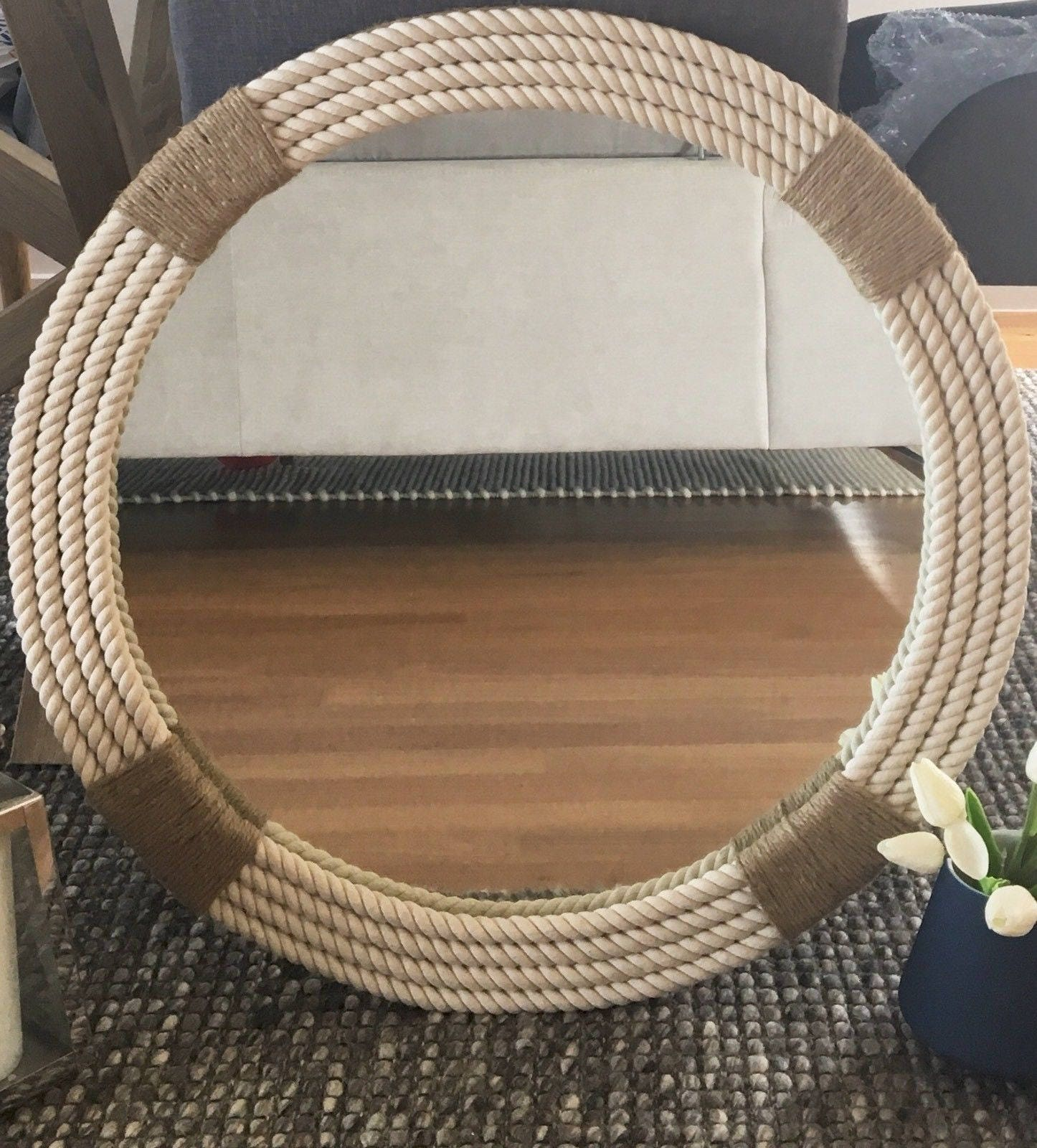 Nautical Rope Decor Items: LARGE Hampton Nautical Themed Round Rope Mirror Home Decor