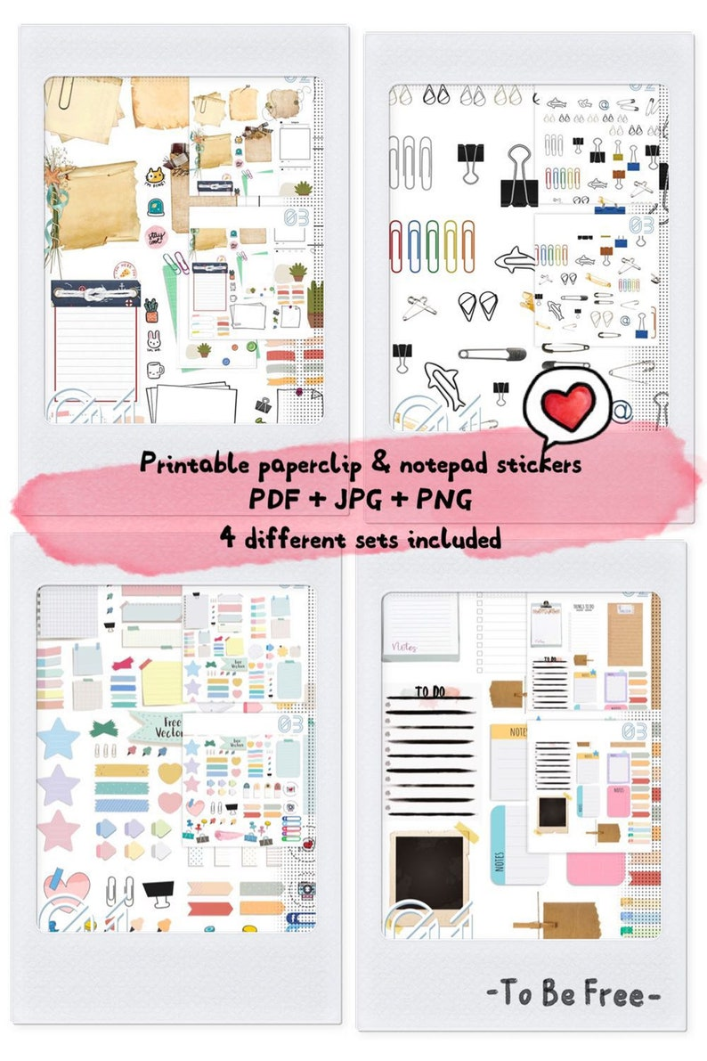 50% OFF Cute Printable Planner Deco Sticker set, Vintage Paperclips and  notepad, Ultimate journal Bible Bullet Journal supplies to do list