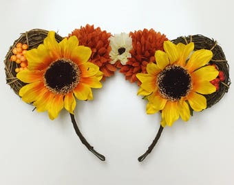 Fall Yellow/Orange Floral Mouse Ears