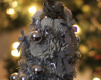 Silver Christmas Tree, Wood Flower