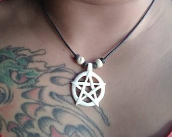 pentagram star bone pendant, handmade,