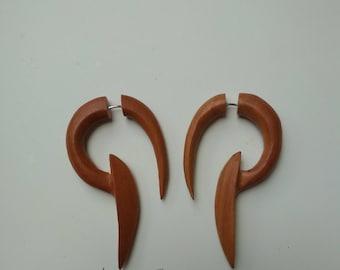 fake gauge, handmade,sawo wood, tribal style