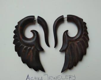Sono Wood patterns wings ilution Hangers Fake Gauge Earrings