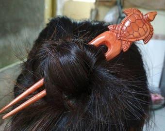 Hair stick wood hair fork Hairpin Jewelry turtle carvings handmade 2 Prongs
