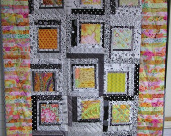 Mosaico negro, blanco y naranja gráfica