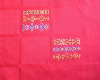 Red folk embroidery