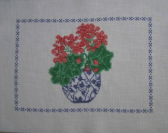 Embroidery red geraniums