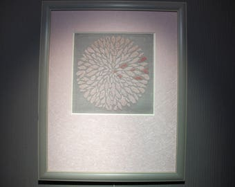 """Pink dahlia"" embroidered in cross stitch chart"