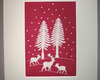 Ciervos, ciervos y árboles bordados tabla
