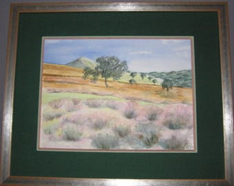 Painting of an original watercolor of moorland Heather in England