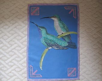 Blue doily embroidered Hardanger and birds