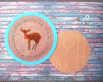 Embroidered deer DOE and paneling on table