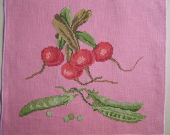 Embroidery radish and peas