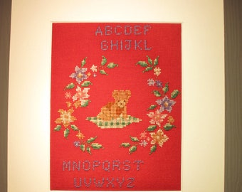 Picture alphabet Teddy embroidered for child