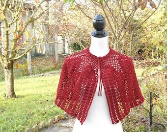 Brick red romantic Cape crochet shoulder warmer, shawl
