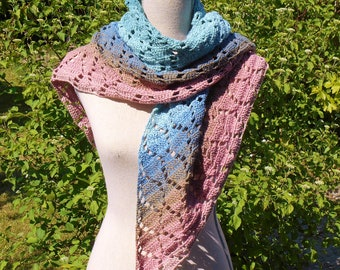 Pink and blue crochet cotton summer shawl