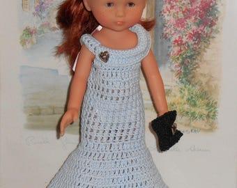 Blue Sky (33 cm) doll crochet evening dress