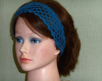 Blue crochet hair band