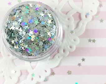 3mm Silver Holographic Star Glitter | Solvent Resistant Glitter