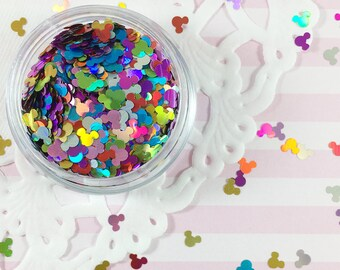 4mm Colorful Holographic Mickey Mouse Glitter | Mickey Mouse Confetti | Solvent Resistant Glitter for Nail Art, Crafts & Parties