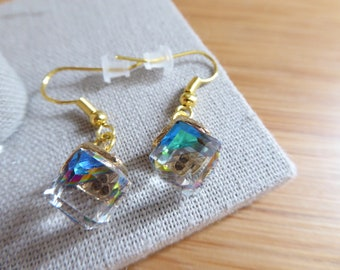faceted glass cube earrings