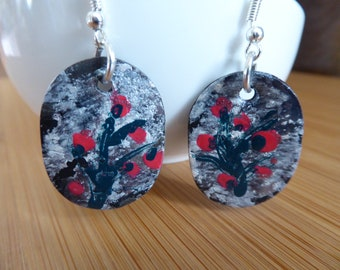 Red bouquet of polymer clay earrings