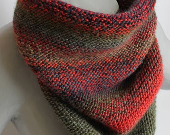maxi knitted snood, hand knitted scarf hand knitted, cowl neck scarf, men, Khaki, Red