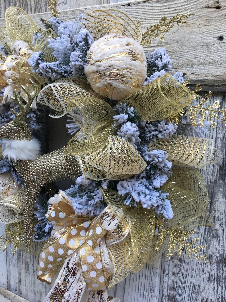 Gold /& white Christmas wreath glam wreath Christmas wreath Winter wreath Holiday wreath wreath with deer Elegant Christmas wreath