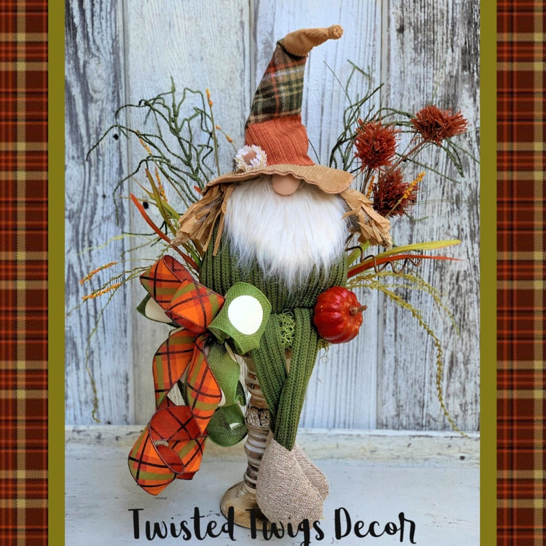 Gnome Decor Fall Decor Scarecrow Gnome Candlestick Decor Thanksgiving Decor Autumn Decor Fall Gnome Gnome Decoration For Fall