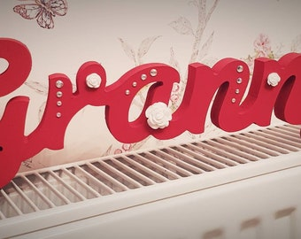 Red and white Freestanding name plaque