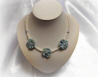 IDA - Necklace 3 light blue and white flowers