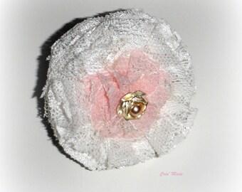 Shabby chic white rose flower ring