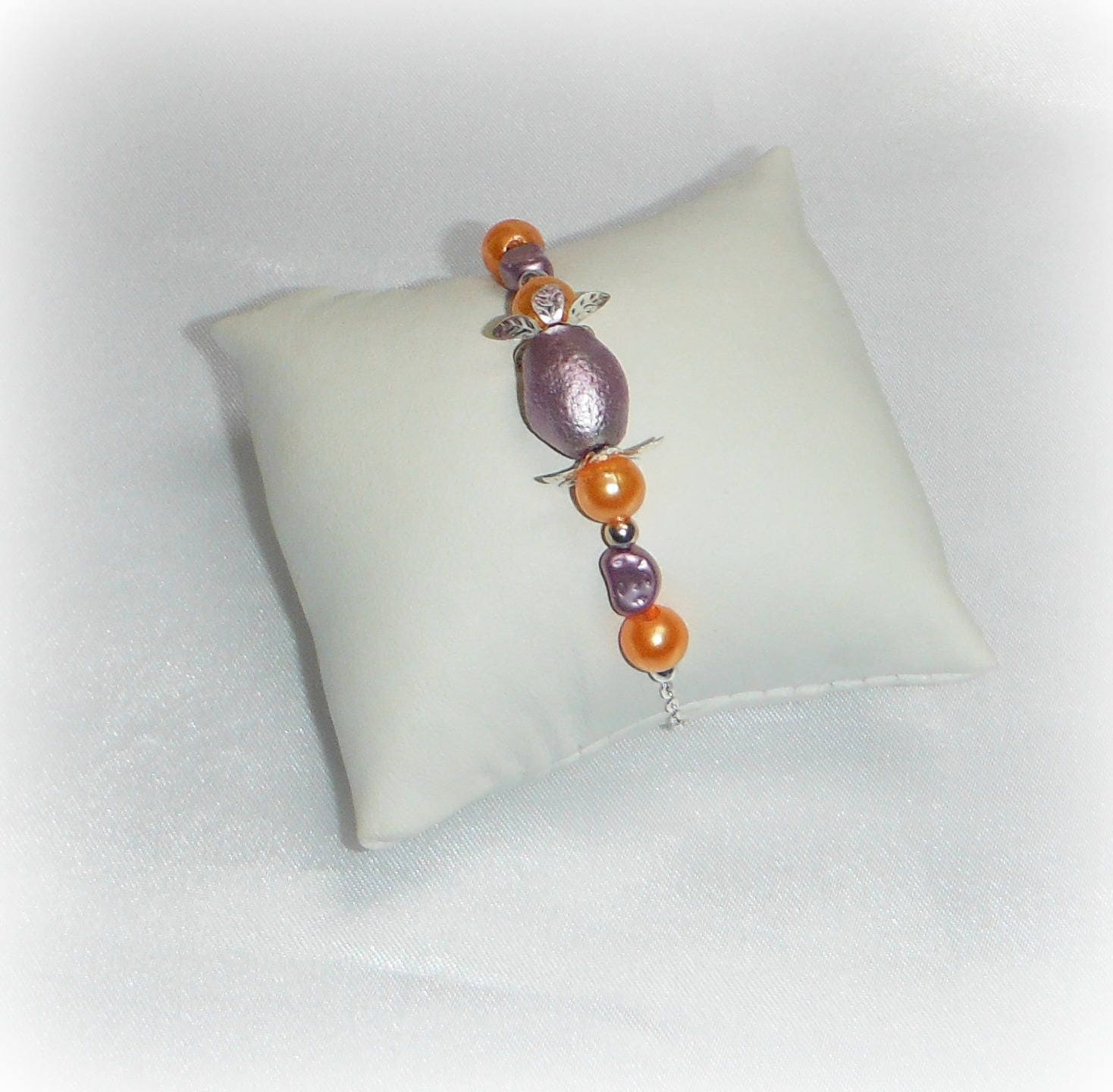 daisy bracelet tendance mauve et orange etsy. Black Bedroom Furniture Sets. Home Design Ideas
