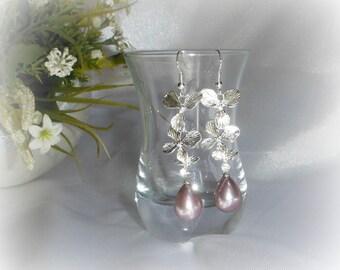 CARMEN - Long earrings purple Freshwater Pearl