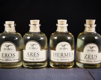 The Pantheon - all four of our Divine Beard Oils: Zeus, Hermes, Eros and Ares.