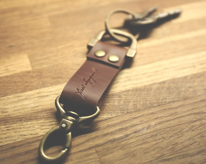 Antique Brass and Leather Key Fob, by First Olympian