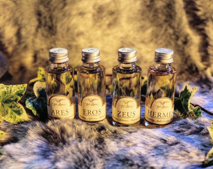 "The ""No Frills"" Pantheon - all four of our Divine Beard Oils: Zeus, Hermes, Eros and Ares."