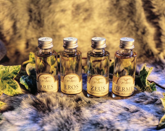 """The """"No Frills"""" Pantheon - all four of our Divine Beard Oils: Zeus, Hermes, Eros and Ares."""