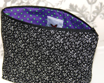 Large Black Ditsy Cosmetic Bags, Large Black Ditsy Makeup Bags, Large Cosmetic Bags, Large Makeup Bags, Gifts for Her, Cosmetic Bags